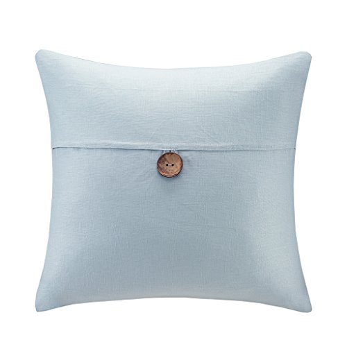 (Madison Park 100% Soft Linen Fabric Decorative Square Pillow 1 Button for Bed Couch or Sofa, 20
