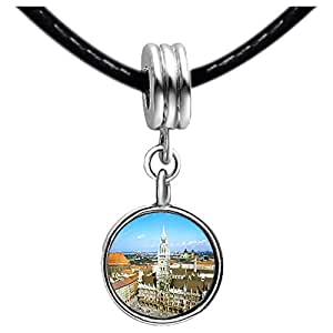 Chicforest Silver Plated Germany Munich Marienplatz The Rathaus Photo Topaz Crystal November Birthstone Flower dangle Charm Beads Fits Pandora Charm