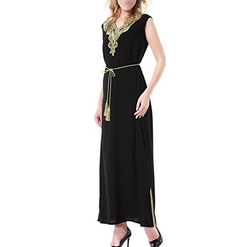 Kaftan Robe Belt Arabian TH908 Xinvision Ladies Gown Muslim Ethnic Sleeveless with Tunic Jalabiyas Islamic Women Abaya s Black Saudi Dress Cocktail Dubai RFzYIqzanw