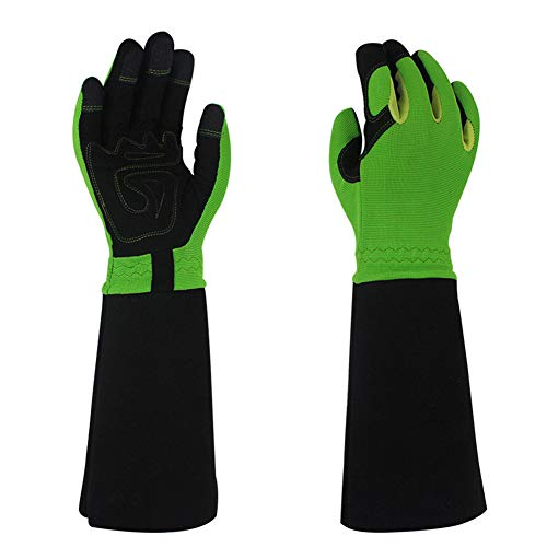 Gardening Gloves Men Thorn-Proof Medium Size for Rose Pruning with Extra Long Cuff Protection (Green)