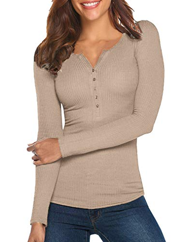 Womens Long Sleeve Henley Blouse Fall Button Down Pullover Knit Casual Leisure Stylish Sexy Knit Sweaters Tops Cracker Khaki,XXL