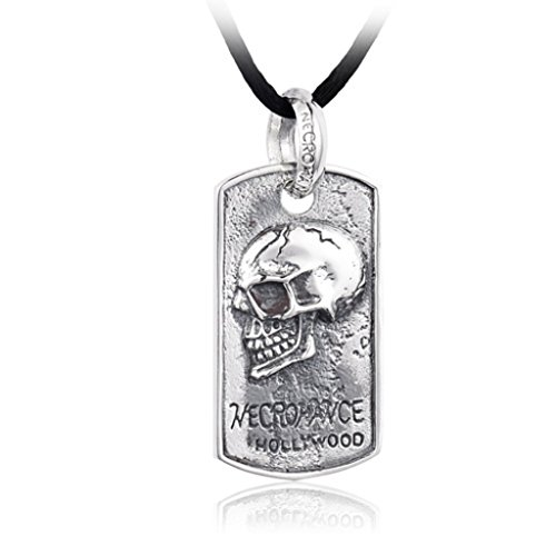AnaZoz Stainless Steel Mens Necklace Pendant Holly Wood Skull Card by AnaZoz