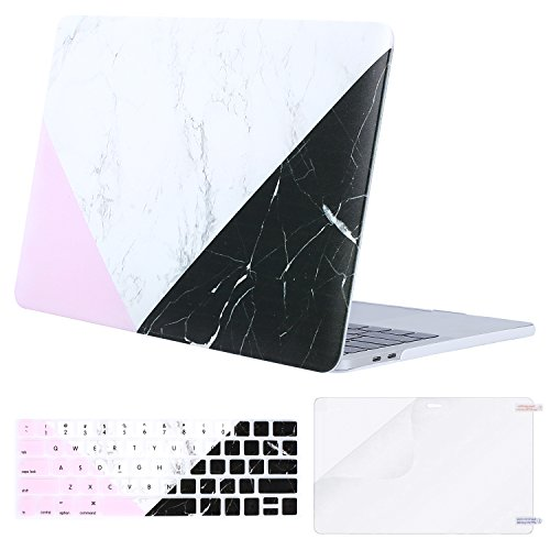 MOSISO MacBook Pro 13 Case 2018 2017 2016 Release A1989/A1706/A1708 w/ & w/o Touch Bar,Plastic Pattern Hard Case & Keyboard Cover & Screen Protector Compatible Newest Mac Pro 13 in,White Black Marble