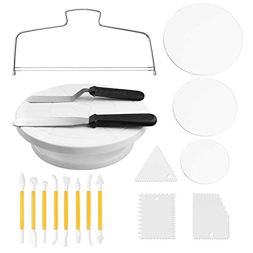 Cake Decorating Kit - Cake-Turntable with 2 Icing Spatulas,3 Cake Scrappers,6,8,10-Inch Cake Board,8 Engraving Pens, 1 Cake - Wedding Ganache Cake