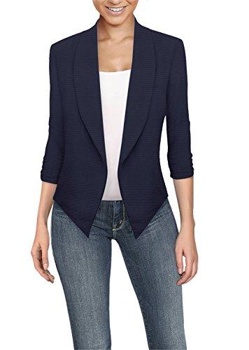 Wear Navy Blazer (Womens Casual Work Office Open Front Blazer JK1133 E3500 Navy S)