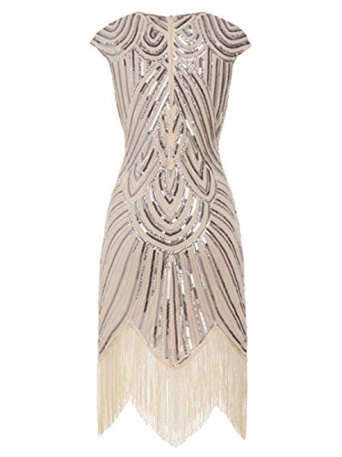 FAIRY COUPLE 1920s Sequined Embellished Tassels Hem Flapper Dress D20S002(M,Champagne)