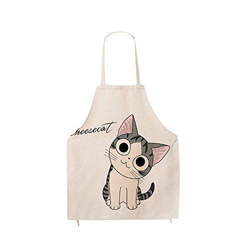 Kids Bib Aprons - Super Cute Cartoon Cat Print Pattern Apron Burlap Cotton Children Bib Apron Chef Kitchen Cooking Baking Aprons for Kids Girls