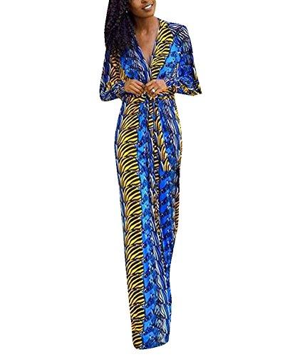Mujeres Vestidos Bohemia Cuello V Estampado Manga Larga y Vestido de la Playa Verano Maxi del Vestido Azul