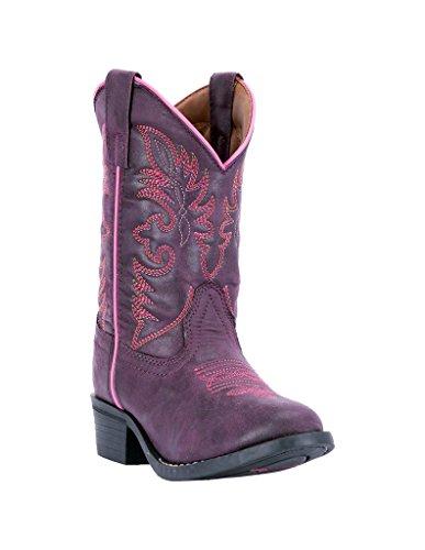 Laredo Western Boots Girls Faux Leather Straps 2.5 Child Purple -