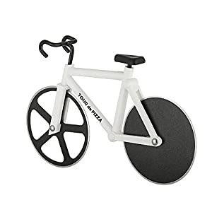 Bicycle Pizza Cutter – TOUR de PIZZA – Dual Stainless Steel Non-Stick Cutting Wheels – Display Stand – A very Cool Gift for the Kitchen by SoHo Kitchen