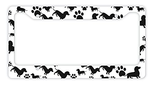 Dog Lover Gifts Dachshund Paw Print Silhouette Dachshund Gifts License Plate Frame Dachshund