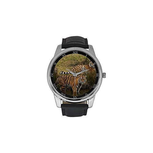 Old Kung Fu Master Costume (Men's Tiger Pattern Print Leather Strap Waterproof Band Wrist Watch)