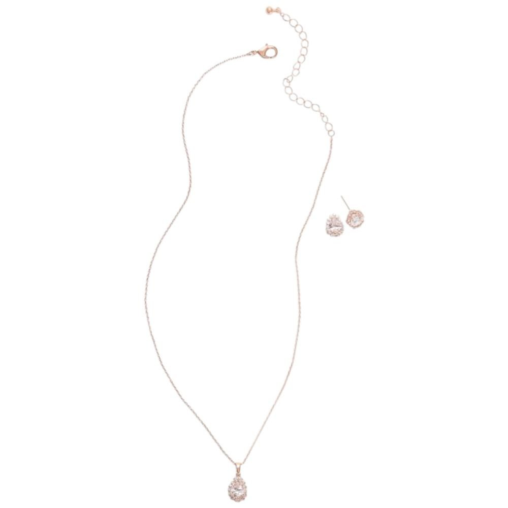 David's Bridal Almond Cubic Zirconia Necklace and Earring Set Style 60008S, Rose Gold