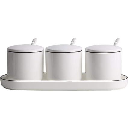 Yunfeng Botes para Especias, Recipiente de cerámica condimento de Cocina y Bandeja combinación Sal 27.5