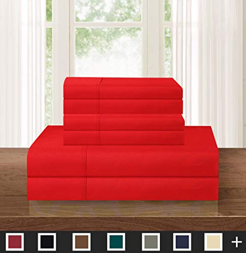 Elegant Comfort Luxurious Soft 1500 Thread Count Egyptian 6-Piece Premium Hotel Quality Wrinkle and Fade Resistant Coziest Bedding Set, Easy All Around Elastic Fitted Sheet, Deep Pocket, Queen, Red (Sheets Red Queen)