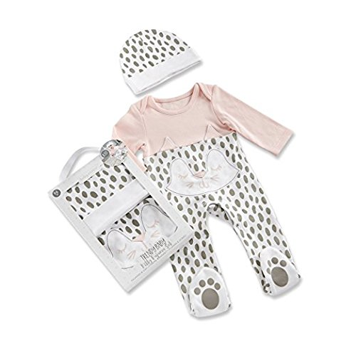 Baby Aspen 2 Piece Pajama Gift Set, White/Grey/Pink, Trendy Kitty, 0-6 Months