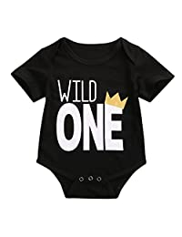 Baby Boys Long Sleeve Wild One First Birthday Bodysuit Romper Outfits