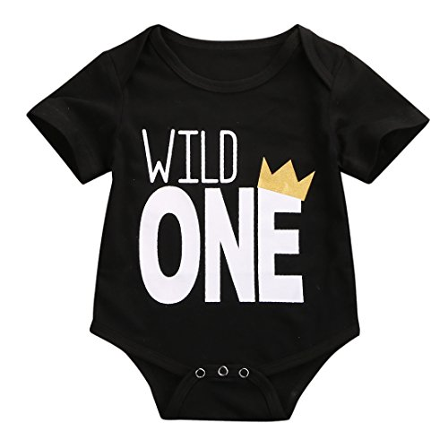 ONE'S Baby Boys Girls Wild One First Birthday Bodysuit Romper Outfits (100(12-18 (1st Birthday Outfit Boy)