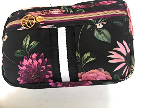 Sonia Kashuk153; Cosmetic Bag Overnighter Dark Floral with Webbing Black
