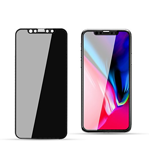YCFlying Compatible with 3D iPhone X Screen Protector Privacy[Upgrade Version] Anti-spy Tempered Glass Screen Film 9H Hardness Anti-Scratch Anti-Peep Shield for iPhone X/XS Screen Protector(Black)