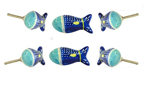 Set of 6 Marco Ceramic Fish Knob by Trinca-Ferro