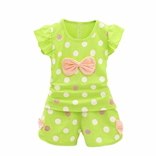 [FEITONG 1Set Baby Girls' Dot Bowknot T-Shirt Tops+Dot Pants Shorts (3T / 3Years, Green)] (18 Month Frog Costume)
