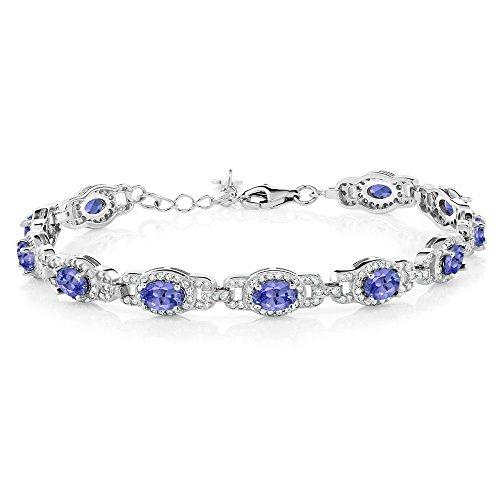 Gem Stone King 925 Sterling Silver Blue Tanzanite, Gemstone Birthstone, 7 Inch Bracelet With 1 Inch Extender, 8.55 Cttw