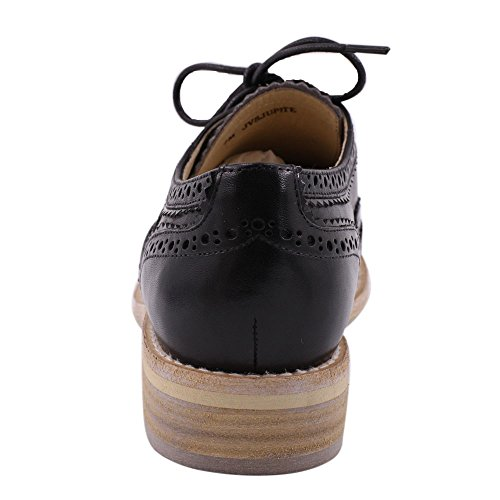 Women's JARO Shoes Oxford Black Comfort Handmade Flats Vintage Lace Perforated VEGA Up Sole Leather Wingtip 55gqrfw