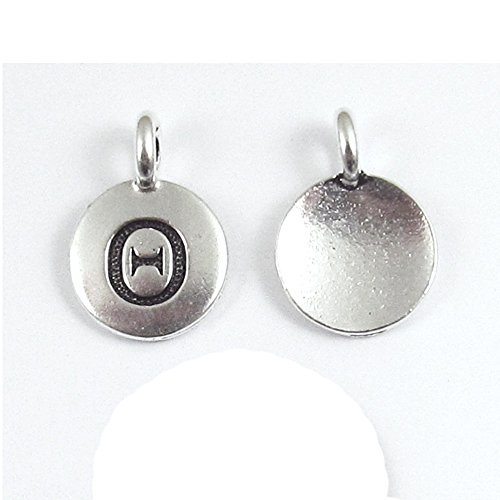 TierraCast Pewter Greek Letter Charms-SILVER ROUND THETA 12x16mm (2)
