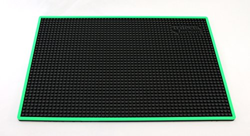 Trifecta Barware 18 X 12 Inch Bar Mat | Service and Spill Mat | Black with Green Edge by Trifecta Barware