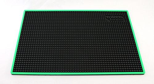 Trifecta Barware 18 X 12 Inch Bar Mat   Service and Spill Mat   Black with Green (Stella Bar Table)