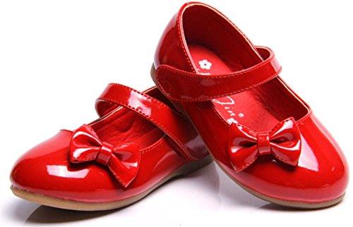 WUIWUIYU Fille Princesse Chaussure Flat Mary Janes(Petit Enfant Bébé )-rouge(B) 26