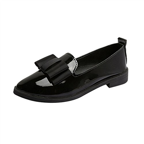 Creazrise Women's Penny Loafers Flat Low Heel Bow Tassel Patent Leather Slip On Shoes (Wine,8) Black