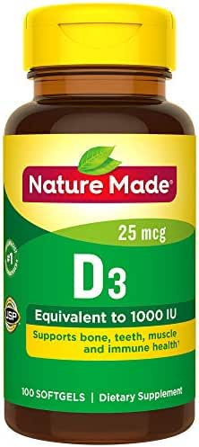 Nature Made Vitamin D 25 mcg (1,000 IU) Softgels, 100 Count for Bone Health (Packaging May Vary)