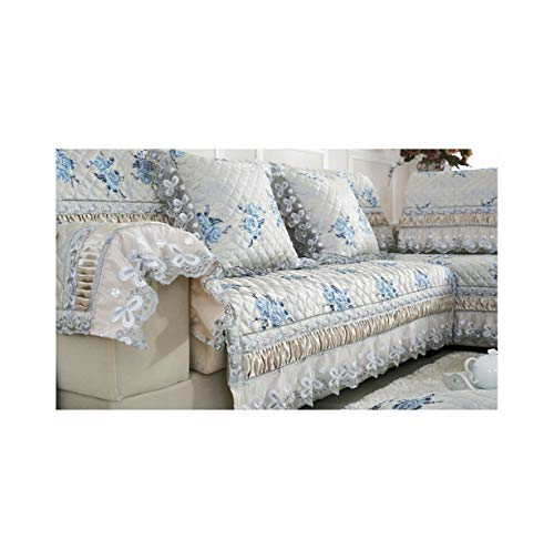 Brilliant-Mirror Slipcover 1 Piece Sofa Cover Embroidery Lace Anti-Slip Printed Sofa Towel Style,Sky Blue,90Cmw 260Cml