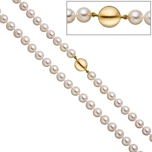 Jobo Collier de perles de perles de Akoya 45cm Schließe Argent 925plaqué or mat