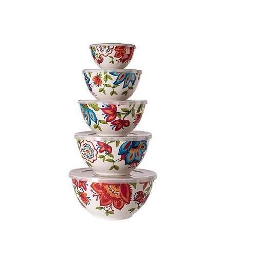 Melamine Bowls with Lids, 10-Piece Set (5 bowls, 5 lids) Floral Pattern (Ceramic Mixing Bowls With Lids)