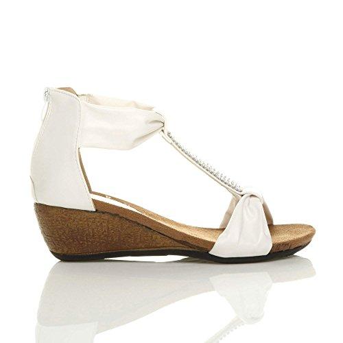 Sandals Mid Bar Heel White Wedge Size Women Ajvani T PYUSnHn