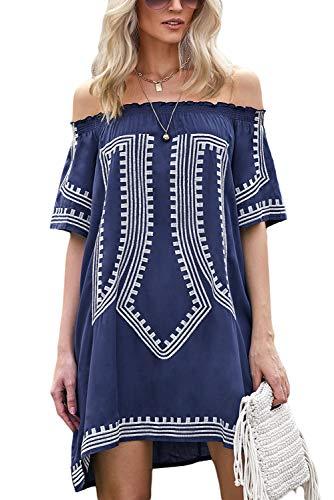 (GOSOPIN Bohemian Vibe Geometric Print Off The Shoulder Beach Dress One Size Navy)