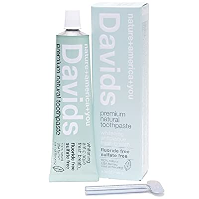 Davids Natural Toothpaste, Whitening, Antiplaque, Fluoride-Free, SLS-Free, Peppermint Oil, 5.25 OZ, Tube Roller Included