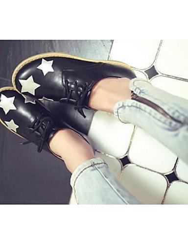 Talon White Confort Eu36 2016 Njx Uk4 Plat Noir Décontracté us6 Femme Blanc Chaussures Similicuir Cn36 Richelieu OUYYPqxa