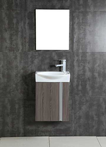 Fine Fixtures Compacto Small Bathroom Vanity Set With Sink -Wall-Hung Cabinet- Sink top, And Mirror Included (Gray Taupe)
