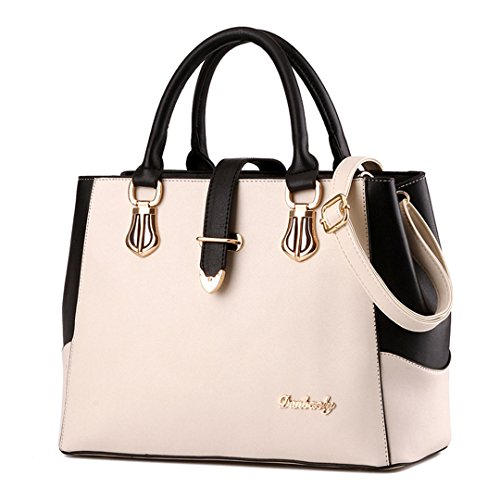 Tibes Elegant Bag Imitation Leather Upper Handle 4pcs Beige Satchel Bag White September B