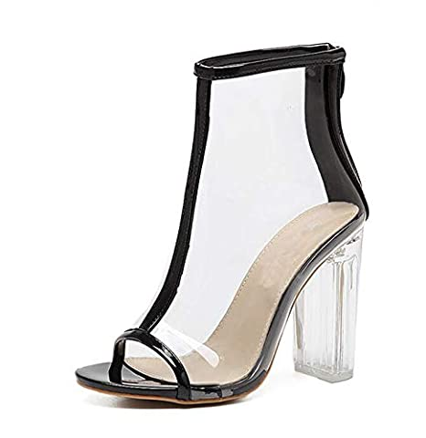 8737e823069 Amazon.com  DingXiong PVC Transparent Boots Sandals Peep Toe Kim Kardashian  Shoes Clear Chunky Heels Mujer Women 11CM  Garden   Outdoor