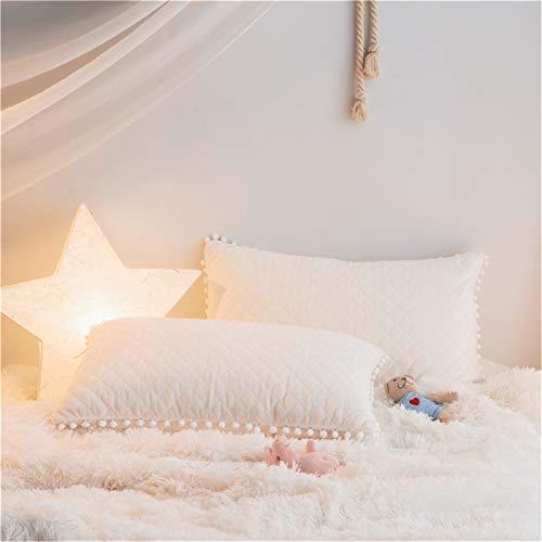 Diamond Sham Quilted - MooWoo 2 PCS Soft Flannel Pillow Shams, Diamond Quilted Crystal Velvet Mink Pillowcases Solid Color, Pompoms Fringe, No Inside Filler, Zipper Close (White, 2 PC Pillow Cases)