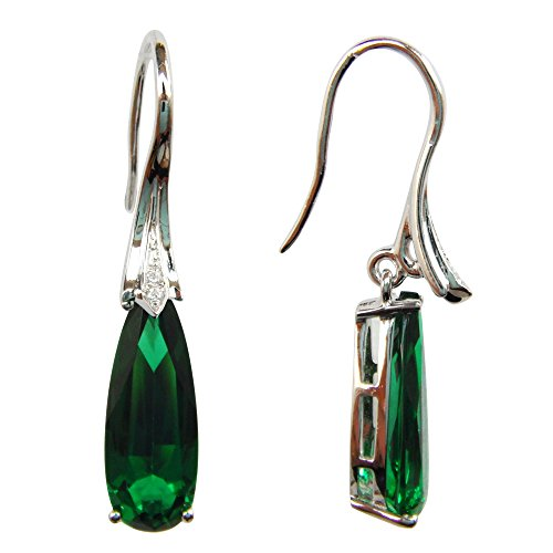 (Navachi 925 Sterling Silver 18k White Gold Plated 5.5ct Pear Shape Emerald Az9739e Dangle Drop Earrings)