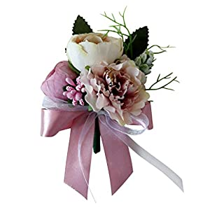 BROSCO Silk Flower Corsage Tea Rose Carnation Boutonniere Pin Wedding Party Accessories | Colour - Dusty Pink 65