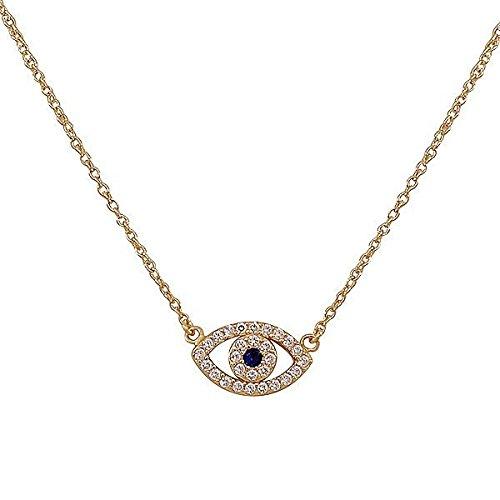 Evil Eye Fashion (925 Sterling Silver Yellow Gold-Tone Evil Eye Hamsa White Blue CZ Womens Pendant Necklace)