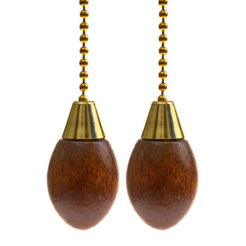 Saim Ceiling Fan Pull Chain Extension 12 Inch Walnut Wooden Pendant Decorative Lamp Pull Chain Polished Brass for Ceiling Fans and Lights, Pack of 2