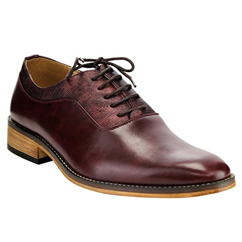 MIKO LOTTI FG01 Men's Lace Up Plain Toe Oxford Formal Dress Shoes, Color:WINE, Size:9.5 (Plain Shoes Toe Blucher Mens)